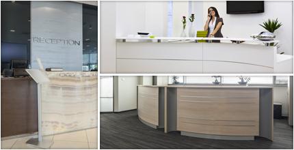 Banque d'accueil design, de forme droite ou courbe…Aménagez votre accueil à l'image de votre Entreprise!